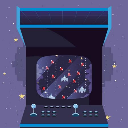 arcade machine video game retro vector illustration design