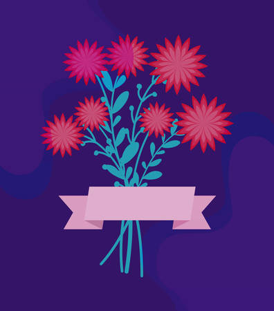 bouquet of flowers with ribbon vector illustration design Illustration