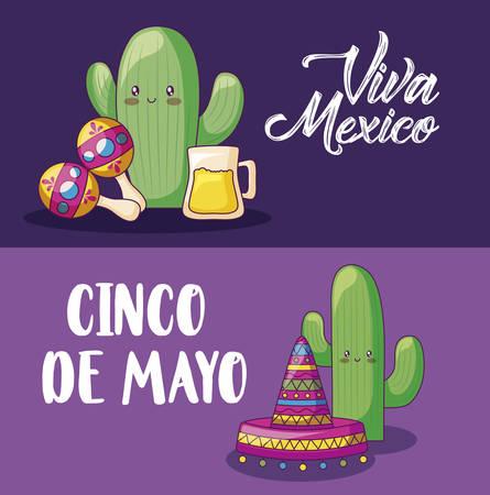 cinco de mayo celebration with cactus and set icons vector illustration design Stock Illustratie