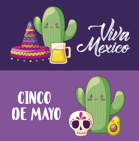 cinco de mayo celebration with cactus and set icons vector illustration design Ilustracja
