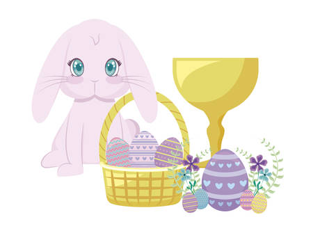 cute rabbit with basket wicker and eggs of easter vector illustration design