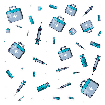 pattern of first aid kit with medical injections and bottle medicine vector illustration design
