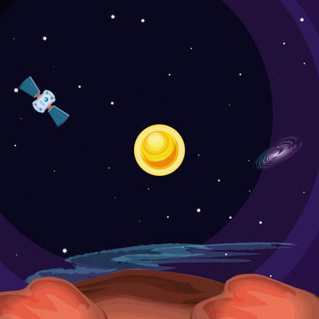 sun space scene icon vector illustration design Ilustração