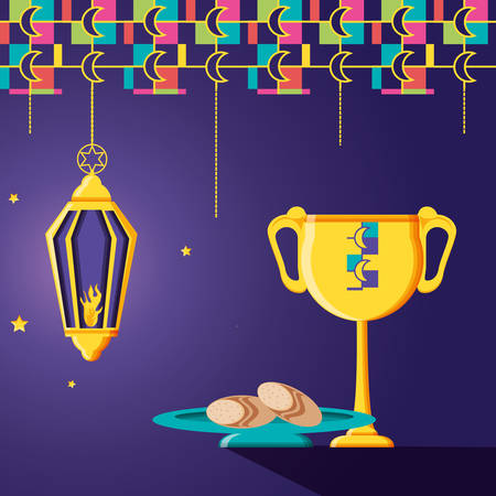 ramadan kareem celebration card with lamp hanging vector illustration design