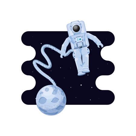 moon satellite with astronaut space scene vector illustration design Illustration