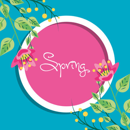 frame circular with spring lettering and flowers decoration vector illustration design