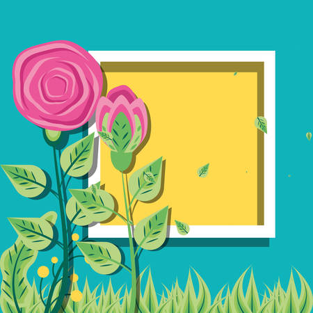 frame square with roses natural with leafs vector illustration design