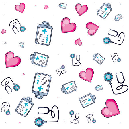 pattern of stethoscopes with clipboard of hospital and hearts vector illustration design