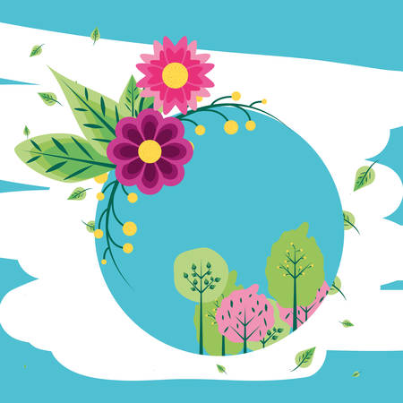flowers with trees plants in frame circular vector illustration design Illustration