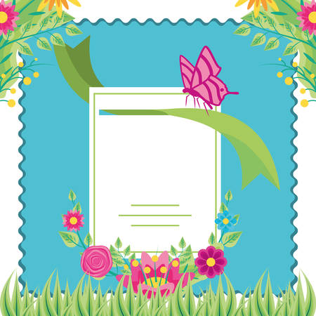 tag in frame with flowers and butterfly vector illustration design