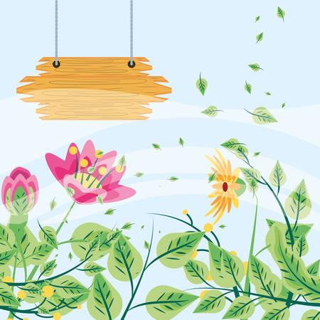 wooden label with flower decoration vector illustration design