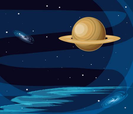 saturn planet scene space vector illustration design Ilustração
