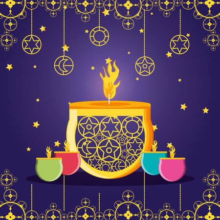 ramadan kareem celebration card with candles vector illustration design Illustration
