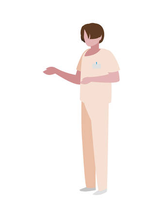 male medicine worker with uniform vector illustration design