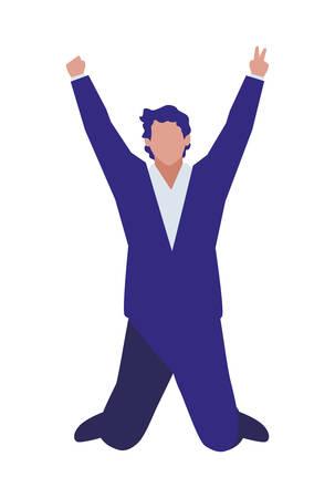 elegant businessman celebrating character vector illustration design