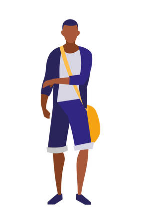 young black boy student modeling vector illustration design