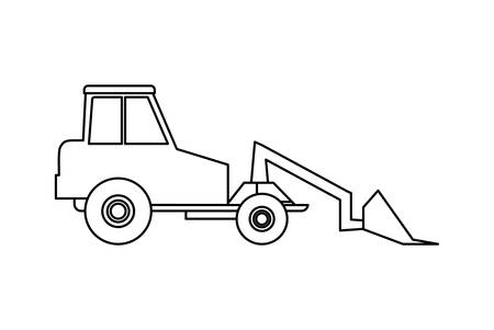under construction excavator vehicle vector illustration design