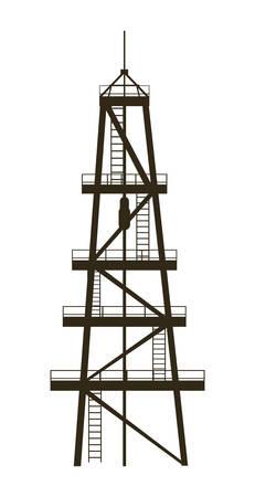 oil industry excavation tower vector illustration design