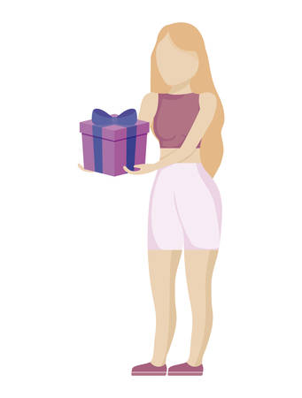 young woman with gift box vector illustration design Ilustração