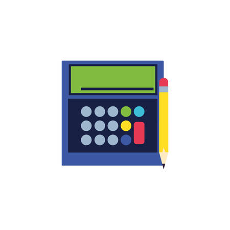 calculator math finance with pencil vector illustration design