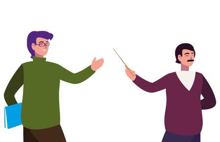 teachers couple avatars characters vector illustration design Illustration