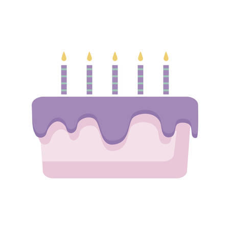 sweet cake with candles isolated icon vector illustration design  イラスト・ベクター素材