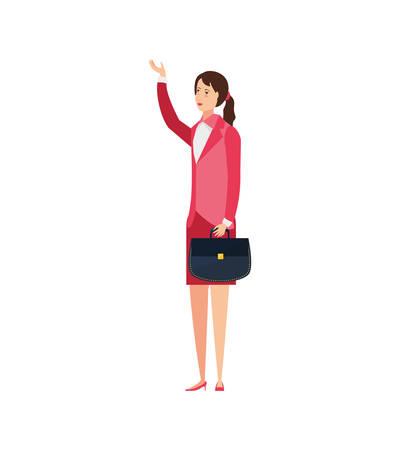 business woman elegant with portfolio vector illustration design