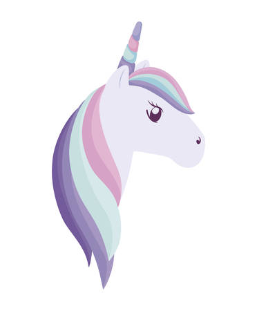 head of cute unicorn isolated icon vector illustration design Vectores