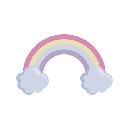 rainbow with clouds isolated icon vector illustration design  イラスト・ベクター素材
