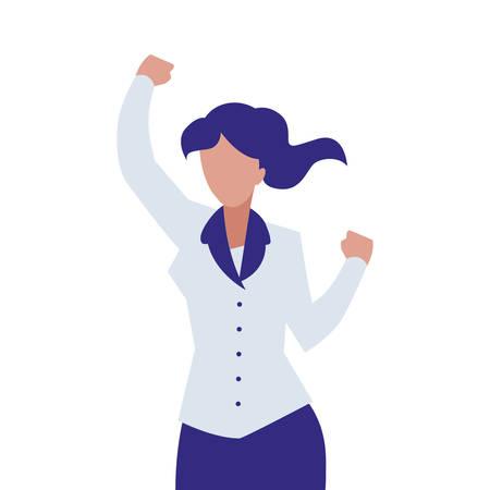 elegant businesswoman celebrating character vector illustration design Illustration