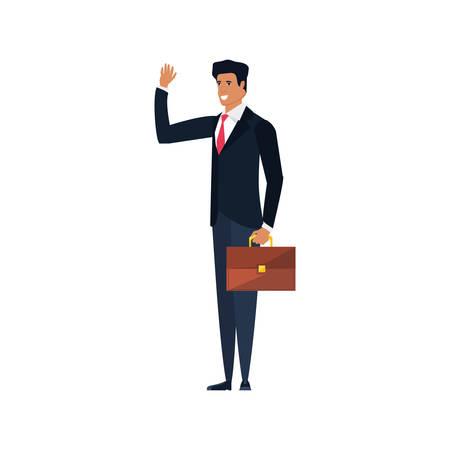 businessman elegant with portfolio vector illustration design