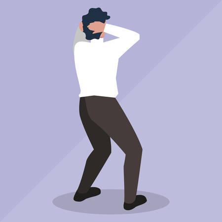 elegant businessman back avatar character vector illustration design