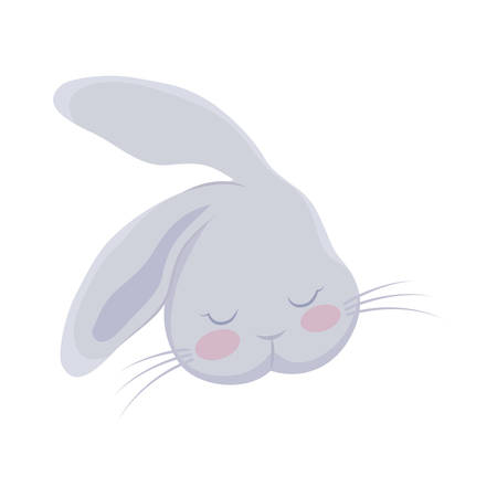 head of cute rabbit animal character vector illustration design
