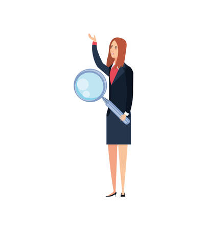 young businesswoman with magnifying glass vector illustration design Çizim