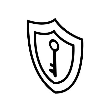 security shield with key vector illustration design Vettoriali