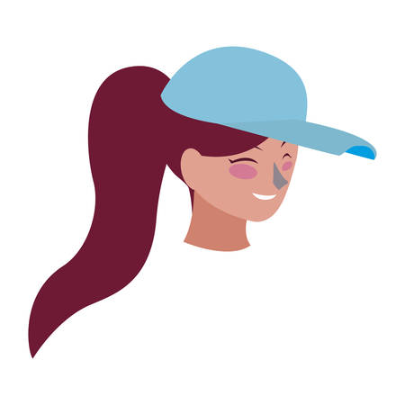 beautiful young woman with sport cap head character vector illustration design 矢量图像