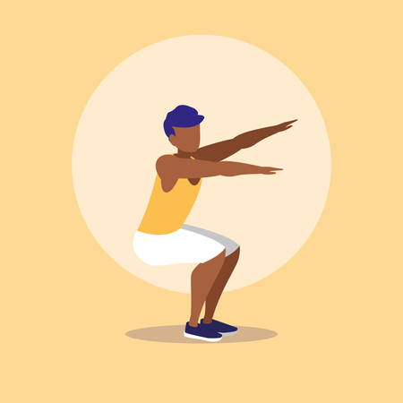 young man black performing exercise character vector illustration design