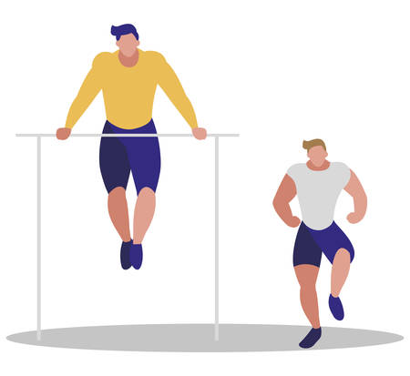 athletic men practicing exercises vector illustration design