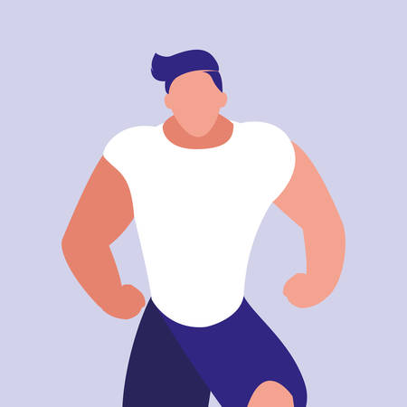 young man performing exercise character vector illustration design