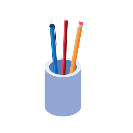 colors pencils and pen supplies in holders vector illustration design