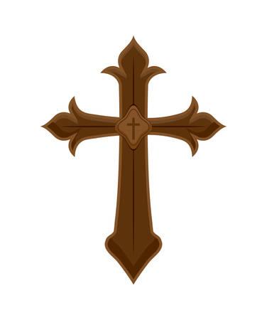 Wooden catholic cross isolated icon