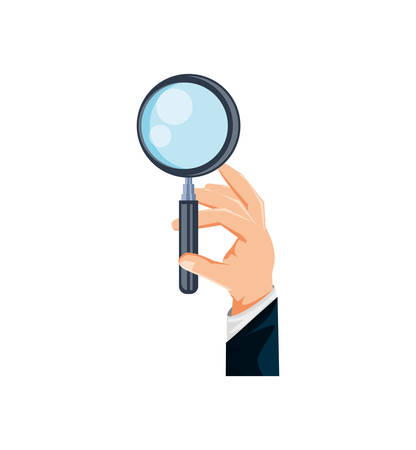 hand with search magnifying glass icon vector illustration design Vectores