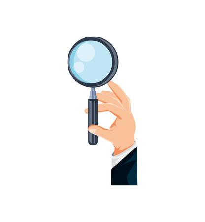 mano con la ricerca icona lente di ingrandimento illustrazione vettoriale design Vettoriali