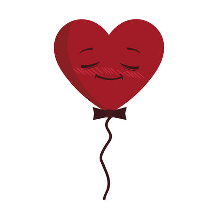 balloon helium with heart male kawaii character shape vector illustration design  イラスト・ベクター素材