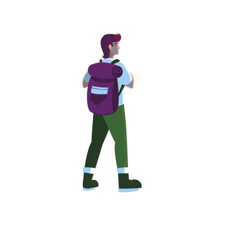 uomo avventuroso con illustrazione vettoriale borsa da viaggio design
