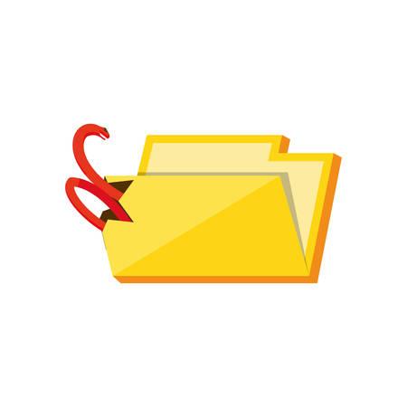 folder document with snake attack vector illustration design