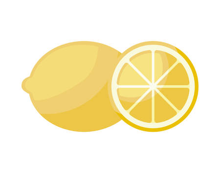 fresh orange with slice fruit isolated icon vector illustration design