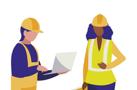 couple of builders working vector illustration design