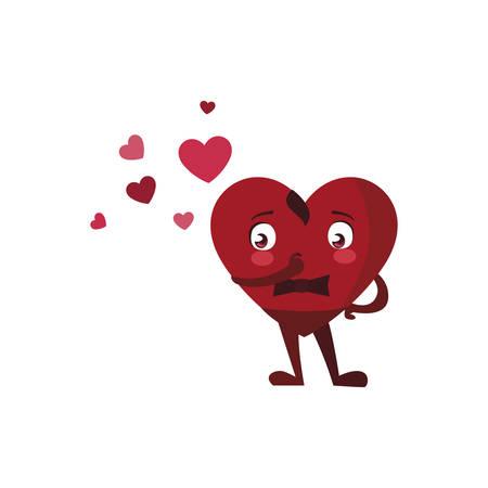 heart male kawaii character vector illustration design  イラスト・ベクター素材