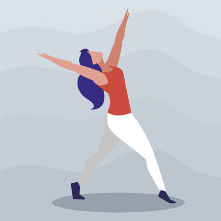 athletic woman practicing exercises vector illustration design Illustration